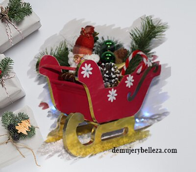 Trineo de papa Noel en cartón